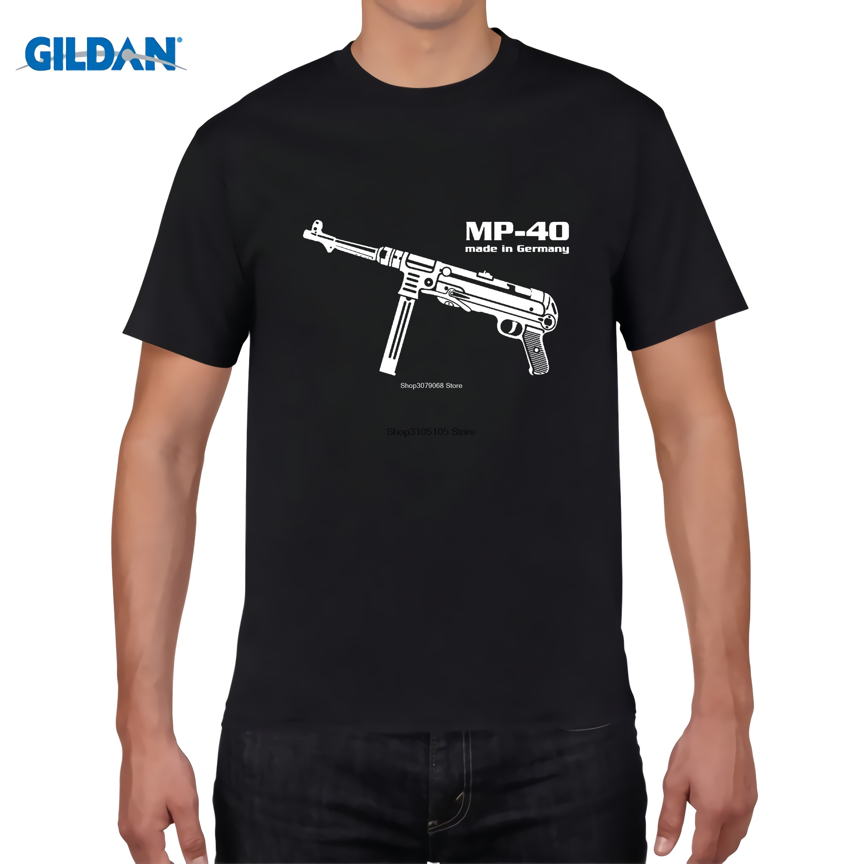 GILDAN Different colors high quality casual men's street wear short sleeve Tee shirt Mp 40 Maschinen pistol Germany Wehrmacht