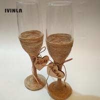 1 Pair Lot Personalized Rustic Wedding Bridal Shower Gift Wedding Burlap Champagne Toasting Glasses Set Jute