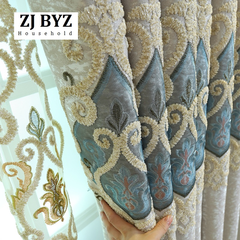 High Grade European Style Luxury Curtain Cloth Shading Finished Landing Curtain Curtains For Living Dining Room Bedroom