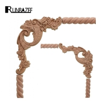 hot deal buy runbazef wood carved corner of the flower plate connection applique the decoration of the jewelry door figurines miniatures
