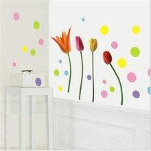 1PCS Candy Color Wave Point Tulip Stickers DIY For Shop Restaurant Kitchen Guard Decoration Bedroom Living Room PVC Art 45*60CM wave shop ru
