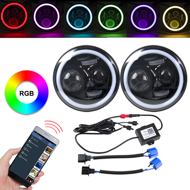 RACBOX Pair 7 Inch 60W RGB LED Headlight Kit H4 H13 Hi-Lo Halo DRL Light For Jeep Wrangler JK With Remote APP Bluetooth Control 1 pair 7 inch rectangular led headlight