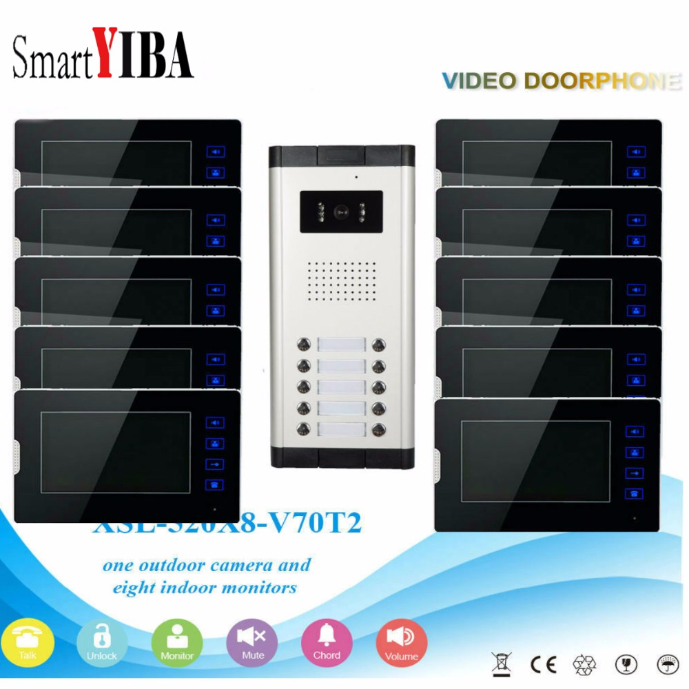 SmartYIBA 10 Units Apartment Intercom System Video Door Phone Door Intercom Aluminum Alloy Camera 7