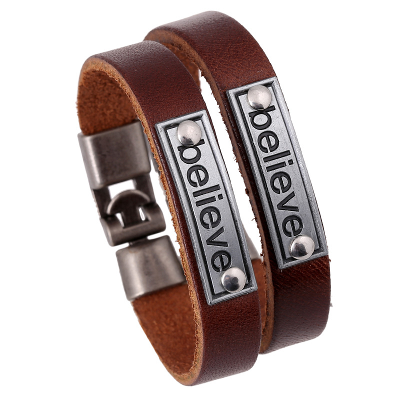 'believe'Letter Embossed Couple Bracelet Easy-hook Leather Genuine Leather Lover Bangle For Women Men Vintage Bileklik Wristband