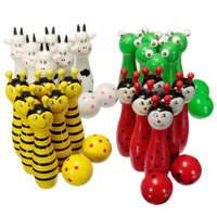 Wooden Bowling Ball Skittle Animal Shape Game For Kids Children Toy Red Green White Yellow