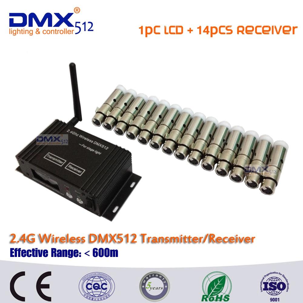 DHL Free shipping 1pcs 2.4G Wireless DMX512 Controller Transmitter +14pcs DMX512 Receiver Wireless Controller Led Stage Light free shipping 2 4g wireless dmx signal controller dmx512 transmitter and dmx512 receiver for stage led par light led moving head