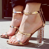 DiJiGirls Latest Women Open Toe Strappy Ankle Strap Gold Sandals Crystal Transparent Clear Block Thick High