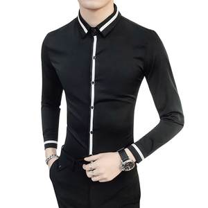 Tuxedo Shirt Wedding Dress Plus Size Spring Slim Fit Long Sleeve Male Casual Solid Top Quality