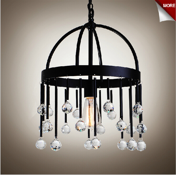 NEW vintage brief American country K9 crystal black iron e27 pendant light for shop restaurant living room 1938 american living new black jacquard fit