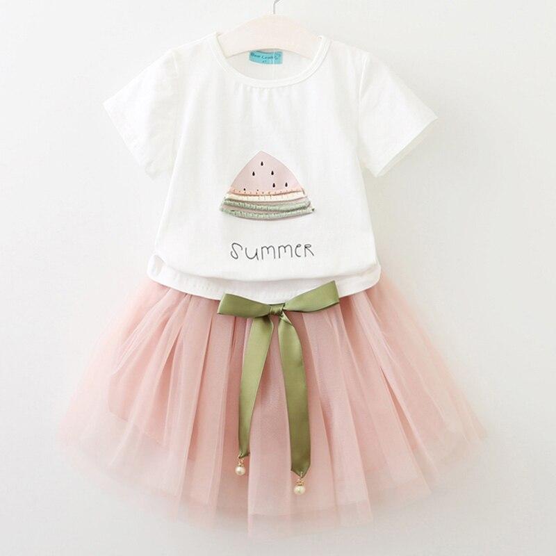 Girls Dresses 2018 Brand New Summer Children dresses White Watermelon Print Short Sleeve T-Shirt+dress Kids Clothes 2-7Y milancel 2018 new summer dresses