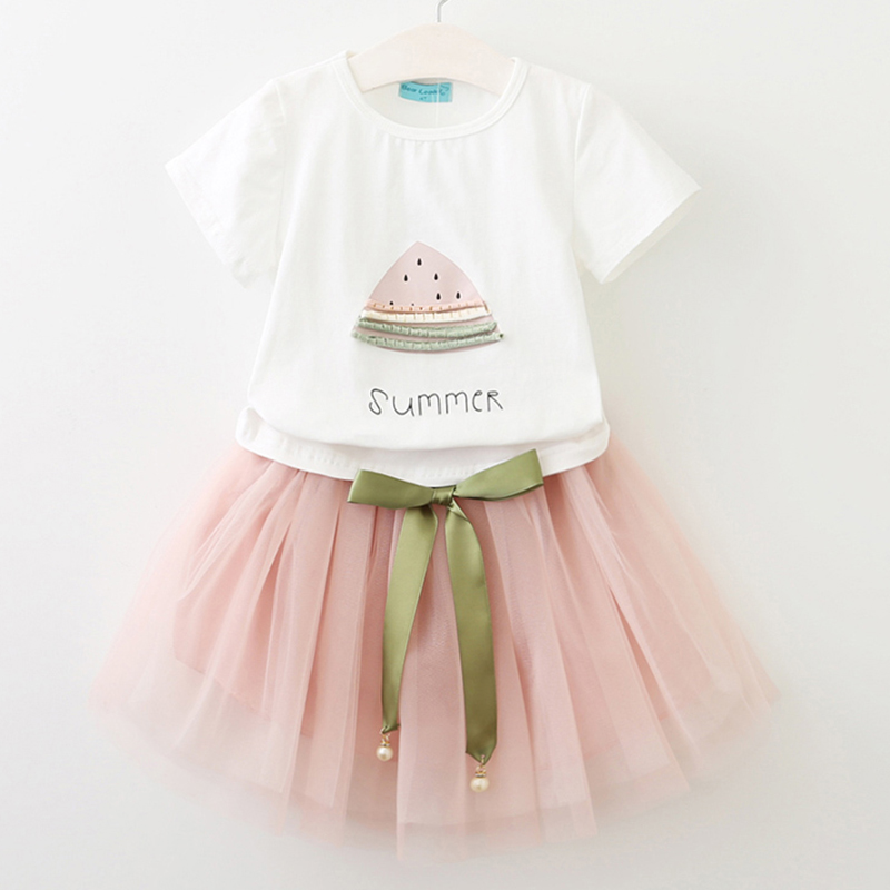 Girls Dresses 2018 Brand New Summer Children dresses White Watermelon Print Short Sleeve T-Shirt+dress Kids Clothes 2-7Y
