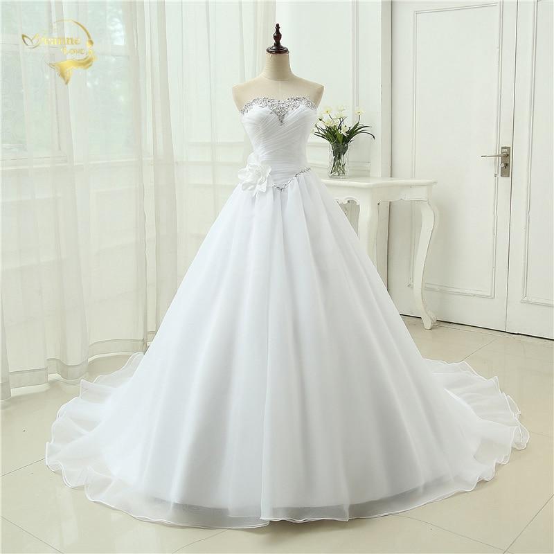 Nova najboljša kakovost Vestido De Noiva Robe De Mariage A Line Organza Poročne obleke Sladke srčke Poročne obleke 2019 3399260