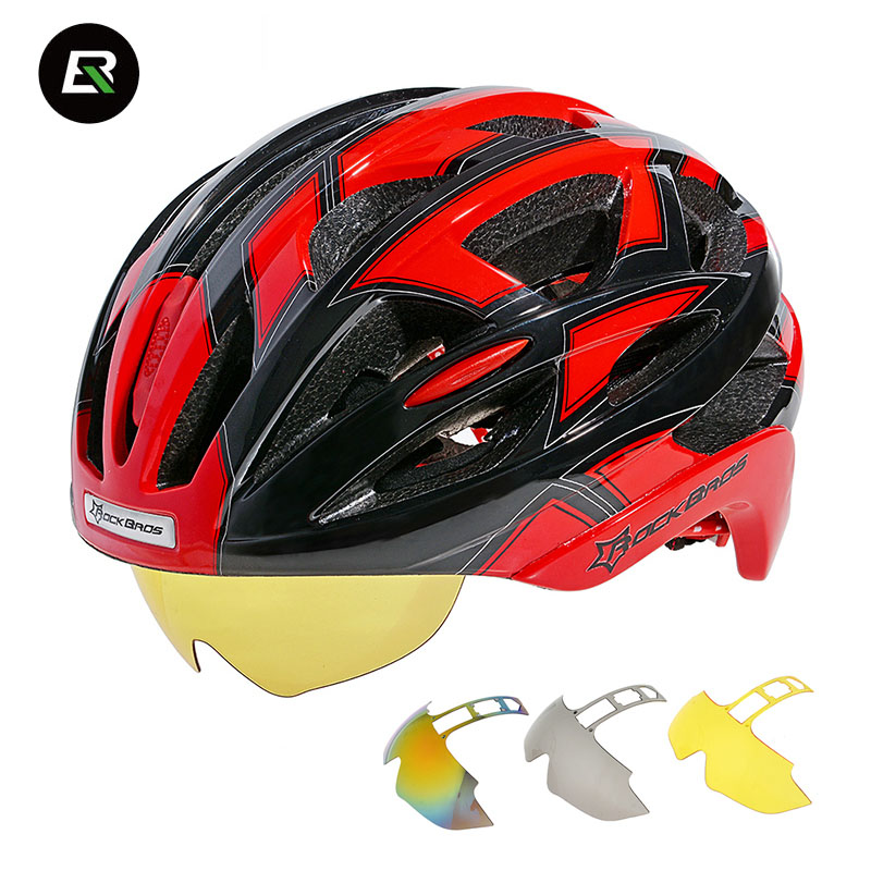 Rockbros Cycling Helmet With 3 Lens Goggles Mountain Road Bike Helmet Integrally-molded Safty Bicycle Helmet Casco Ciclismo rockbros cycling helmet men women breathable 32 air vents goggles mtb road bicycle bike helmet with 3 pair lens casco ciclismo