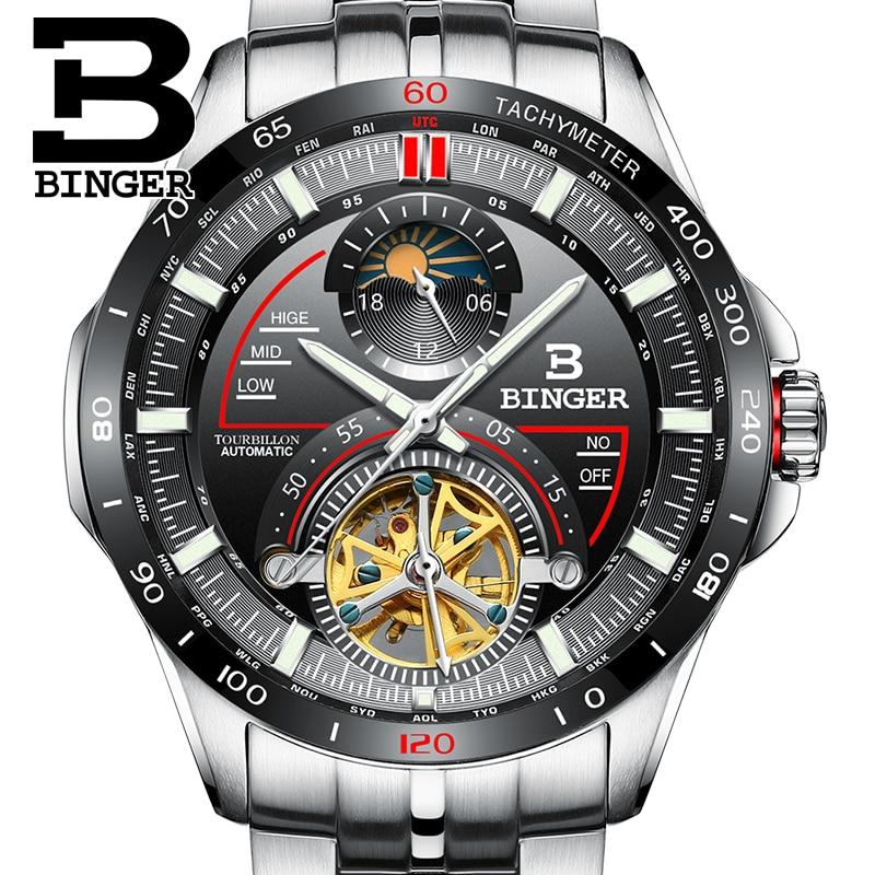 Szwajcaria BINGER męskie zegarki Top marka luksusowy męski zegarek Tourbillon automatyczne Mechanica zegar ze stali nierdzewnej Sapphire reloj w Zegarki mechaniczne od Zegarki na  Grupa 1