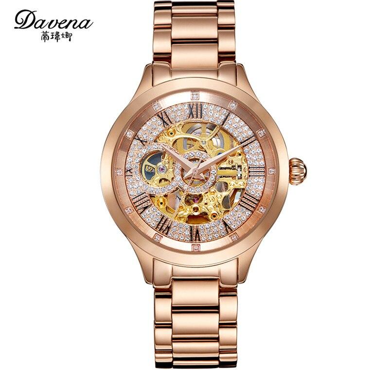 Marka moda kobiety zegarki mechaniczne duży rozmiar neutralny stali nierdzewnej zegarek na rękę automatyczny auto wiatr Roman sukienka Relojes Montre femme w Zegarki damskie od Zegarki na  Grupa 1