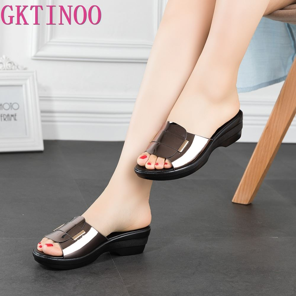 GKTINOO Women's Slippers Sandals 2020 Summer 4.5cm High Heels Women Shoes Woman Slippers Summer Sandals Casual Shoes