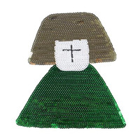 Sequins patch 21cm cross girl deal with it iron on patches for clothing 3d t shirt mens, t shirt Women free shipping