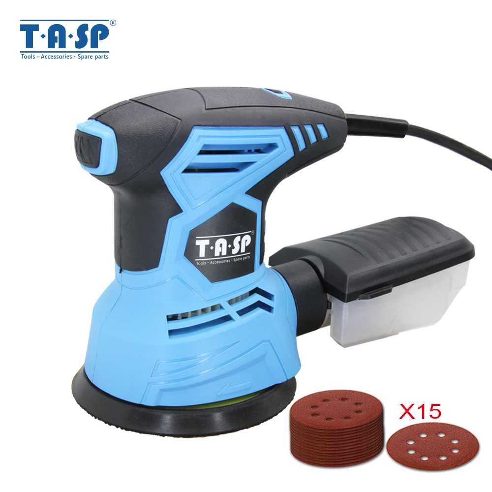 TASP 300W Electric Random Orbital Sander Variable Speed Sanding Machine Woodworking Tools + Dust Collection Box & 15 Sandpapers
