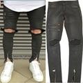 2017 del diseñador de moda ocasional moto mens ripped jeans delgado para hombres Tobillo Cremallera Denim Jeans Marca Destruidos Skinny Jean de Los Hombres pantalones