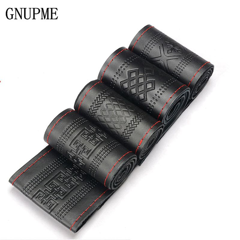 aliexpress com buy gnupme steering wheel cover genuine cowhidegnupme steering wheel cover genuine cowhide leather diy hand sewing diameter 38cm steering covers black grey wholsale gifts