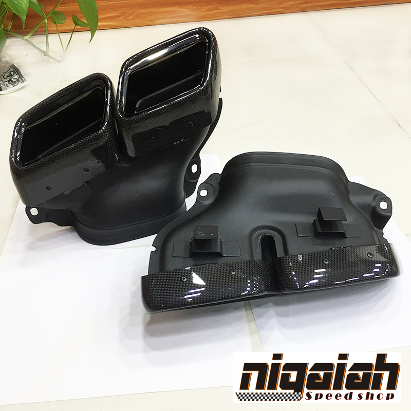 Haute qualité 304 en acier inoxydable en fibre de carbone d'échappement silencieux embouts tuyau pour Mercedes W222 W212 W205 E63 AMG S nouvelle bouche carrée