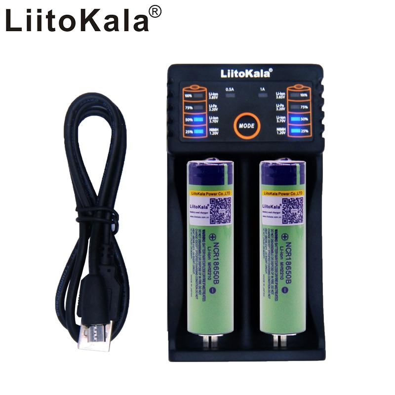 2 unids liitokala 3.7 V 3400 mAh 18650 li-ion recargable (sin PCB) + Lii-202 USB 26650 18650 AA AAA cargador inteligente