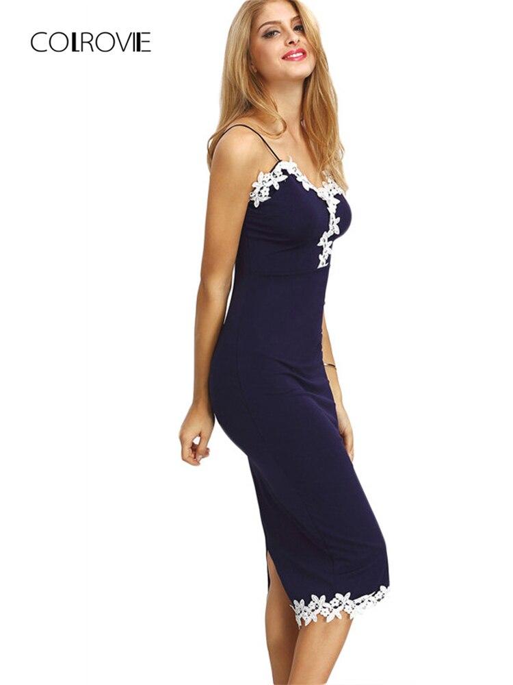 COLROVIE Mulheres Contraste Marinha Lace Dividir Voltar Bainha Vestido  Lápis Midi Bodycon Vestidos Spaghetti Tarja Verão 5e8b608ceed