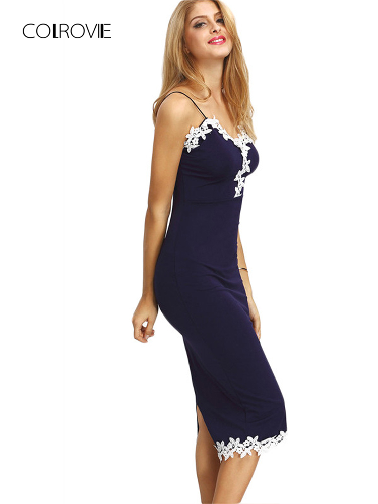 1bc4657147c Detail Feedback Questions about COLROVIE Women Navy Contrast Lace Split  Back Sheath Midi Bodycon Dresses Spaghetti Stripe Summer Sexy Fitness  Pencil Dress ...