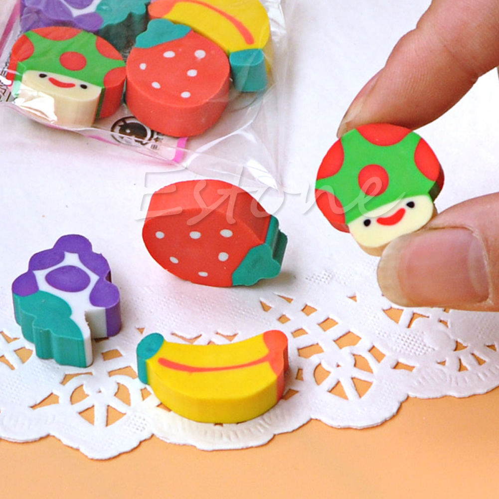 50Pcs Cute Mini Fruit Rubber Pencil Eraser Children Creative Stationery Gift Toy Drop Shipping Support