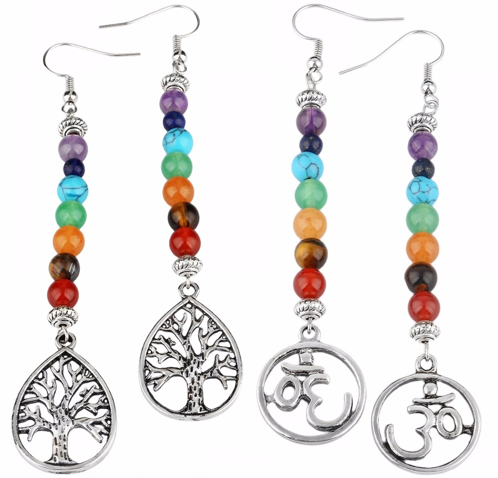 US $3 79 5% OFF TUMBEELLUWA 7 Chakra Stone Dangle Earrings for Women,Tree  of Life/Root Chakra-in Drop Earrings from Jewelry & Accessories on