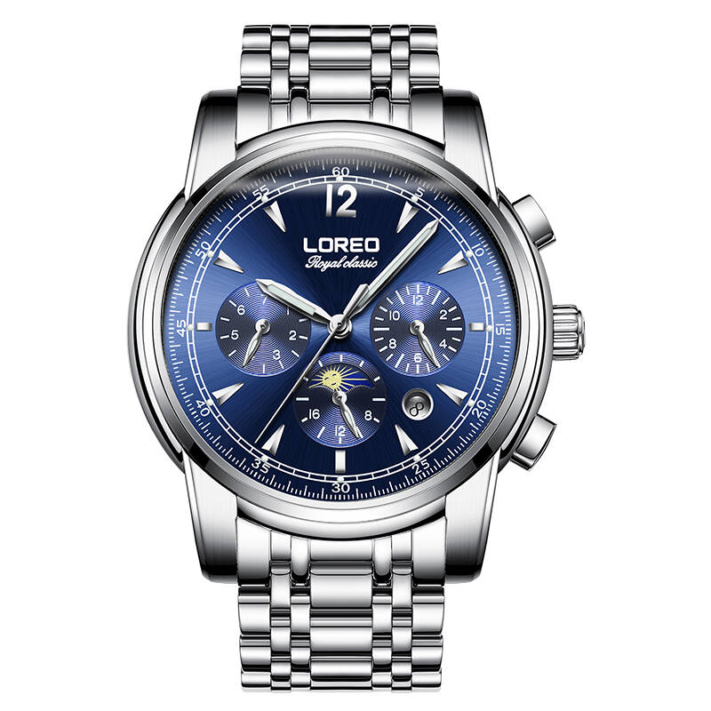 LOREO 6105 Germany watches men luxury brand automatic mechanical fashion hollow luminous waterproof moon phase blue watch все цены