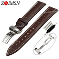 ZLIMSN 100% Genuine Leather Watchbands Brown And White Line Mens Watch Band Strap For CASIO 19mm 20mm 21mm Relogio Masculino
