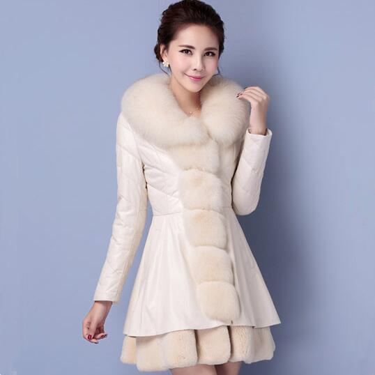 Warm Winter Coat Women Luxury Oversize Rex Rabbit Fur Collar PU Faux Leather Padded Long Coat 2017 winter new clothes to overcome the coat of women in the long reed rabbit hair fur fur coat fox raccoon fur collar