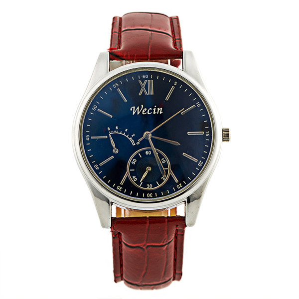 Newly Design Mens Fashion Stylish Blue Big Dial Round Case Faux Leather Dress Wristwatches Casual Nice Quartz Business Watches