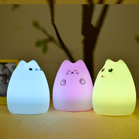 Cute Cat LED Children Kids Baby Night Light Lamp Multicolor Silicone Soft Nursery Sensitive Tap Control