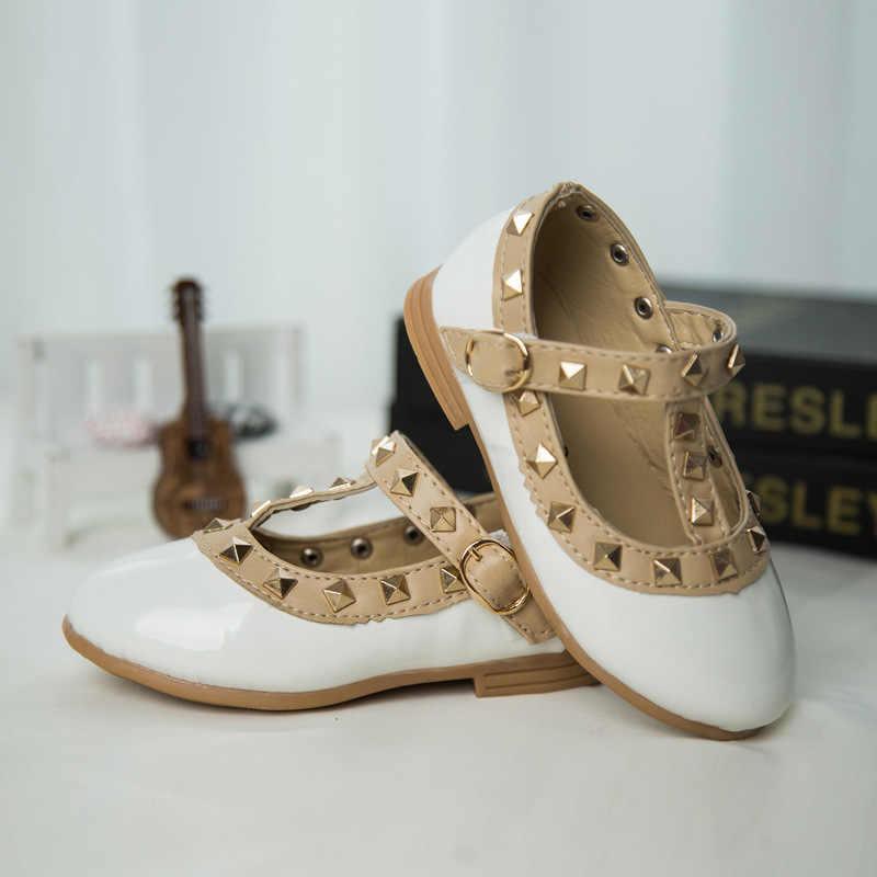 Phong Cách Mới Thương Hiệu Trẻ Em Giày Sneaker Giày Trẻ Em Bằng Sáng Chế Da Girl Flat Giày Tập Đi Enfant Giày Công Chúa Đinh Tán T-Dây Đeo size21-36