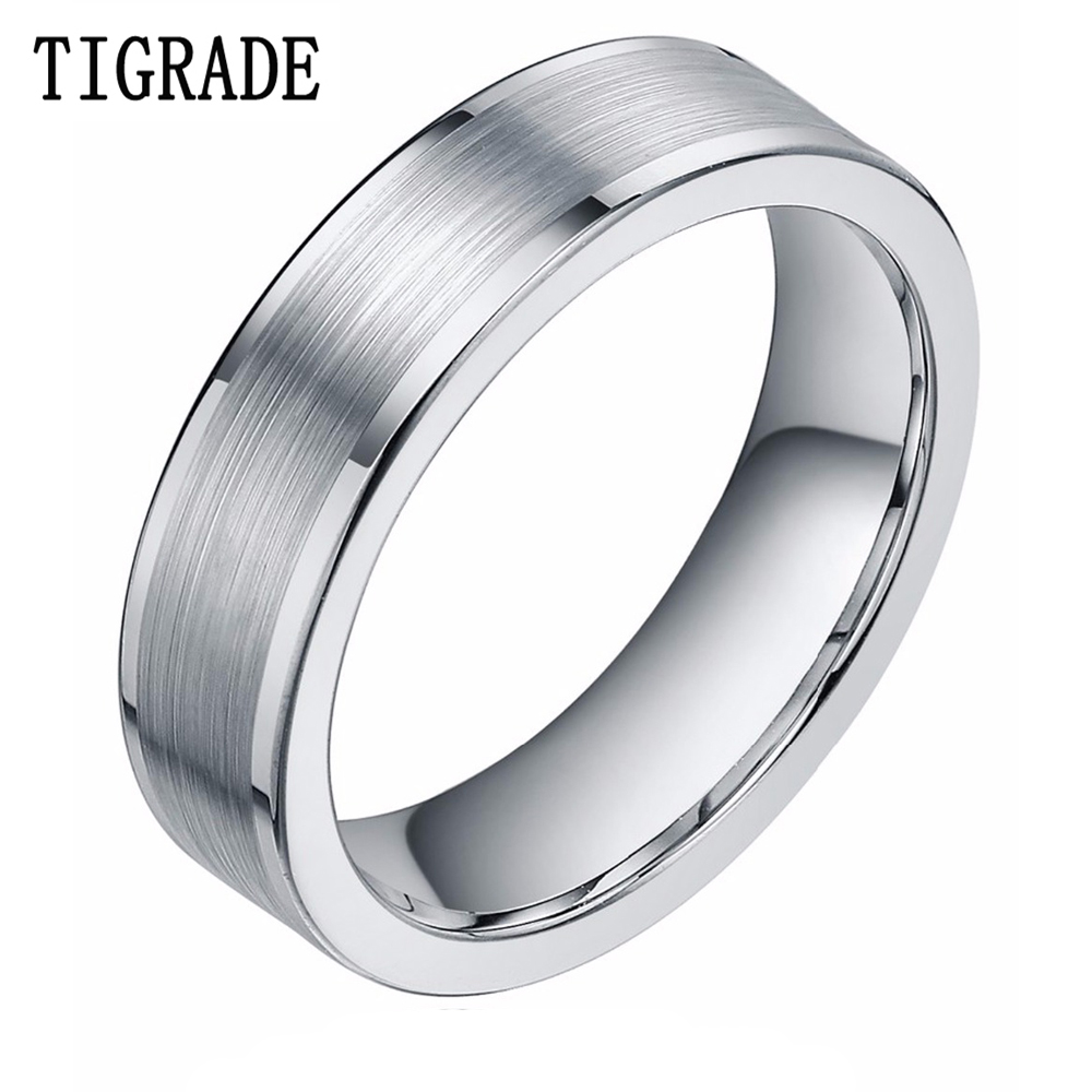 grande vente fb335 5e816 US $10.15 35% OFF|TIGRADE 8mm Silver Tungsten Carbide Ring Mens Brushed  High Polished Edges Wedding Rings Engagement Band Famale bague homme-in ...