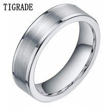 TIGRADE 8mm Silver Tungsten Carbide Ring Mens Brushed High Polished Edges Wedding Rings Engagement Band Famale bague homme