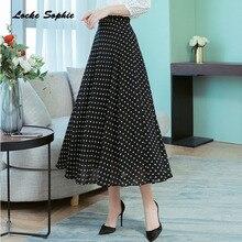 1pcs Hight waist skirts Womens A-line 2019 Autumn Chiffon Splicing Wave point prints Black skirt Ladies Casual
