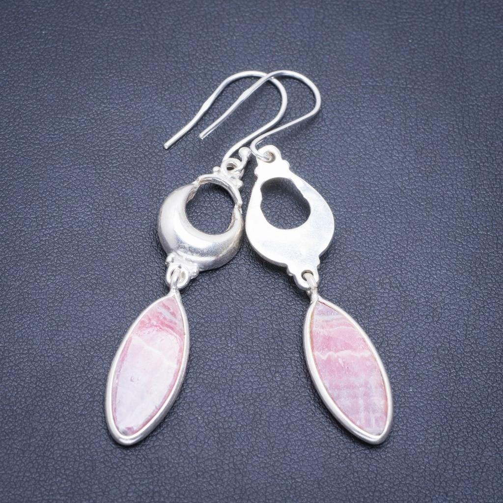 Natural Rhodochrosite Handmade Unique 925 Sterling Silver Earrings 2.25 A2107Natural Rhodochrosite Handmade Unique 925 Sterling Silver Earrings 2.25 A2107