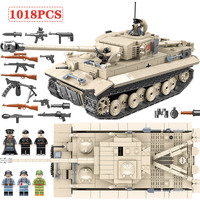 Military Army WW2 German King Tiger 131 Tank Soldier Weapon Building Blocks 1018pcs Bricks Toys for Boys Compatible with Legoed