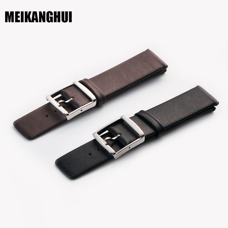 MEIHANGHUI Watchband Leather Black Dark Brown Watch Band 16mm 18mm 20mm 22mm 24mm Replacement Strap Polished Pin Buckle