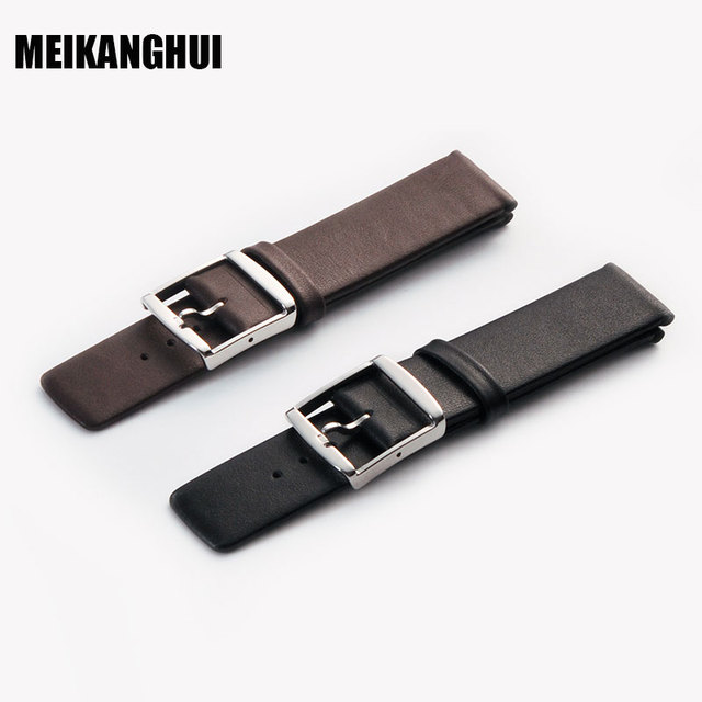 MEIHANGHUI Watchband Leather Black Dark brown Watch Band 16mm 18mm 20mm 22mm 24m