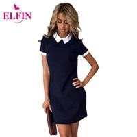 Summer Fashion Women Dresses Turn Down Collar Casual Dress Elegant Short Sleeve Dress Plus Size Feminine