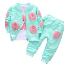 Baby Girls Clothing Sets Toddler Long Sleeve T-shirt Zipper Coats And Pants 3 Pcs Suit Kids Autumn Sportswear Set