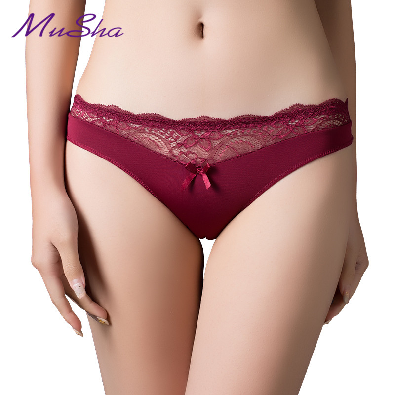 Women Sexy Lace   Panties   , Women's Low Waist Cotton Briefs Underwear G-Strings Thongs