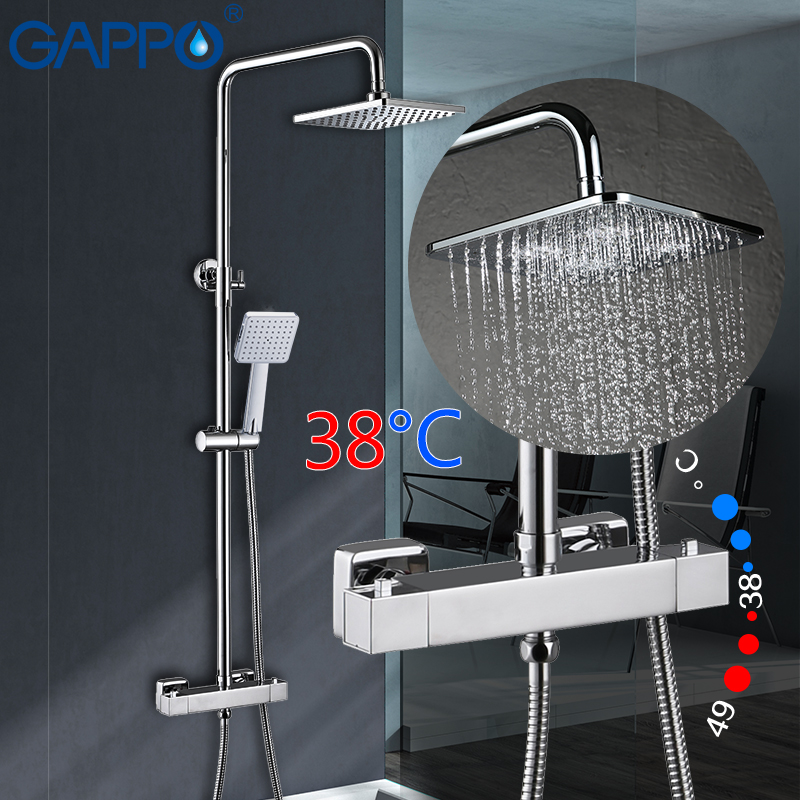GAPPO shower faucets thermostatic rainfall shower set bathroom constant temperature faucets mixer taps shower system