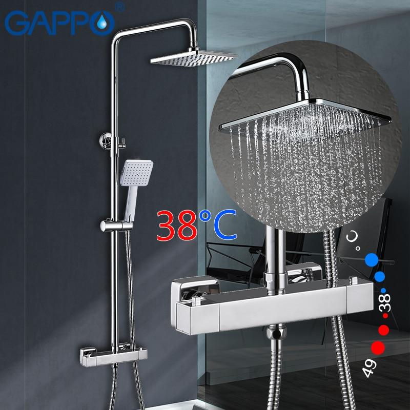 GAPPO chuveiro torneiras torneiras torneiras misturadoras termostática chuvas set chuveiro casa de banho a temperatura constante chuveiro sistema