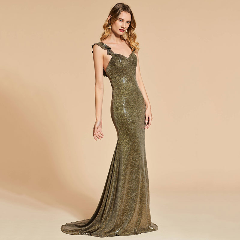 Tanpell sequins evening dress straps sleeveless backless women formal mermaid reflective dress plus custom evening dress in Evening Dresses from Weddings Events
