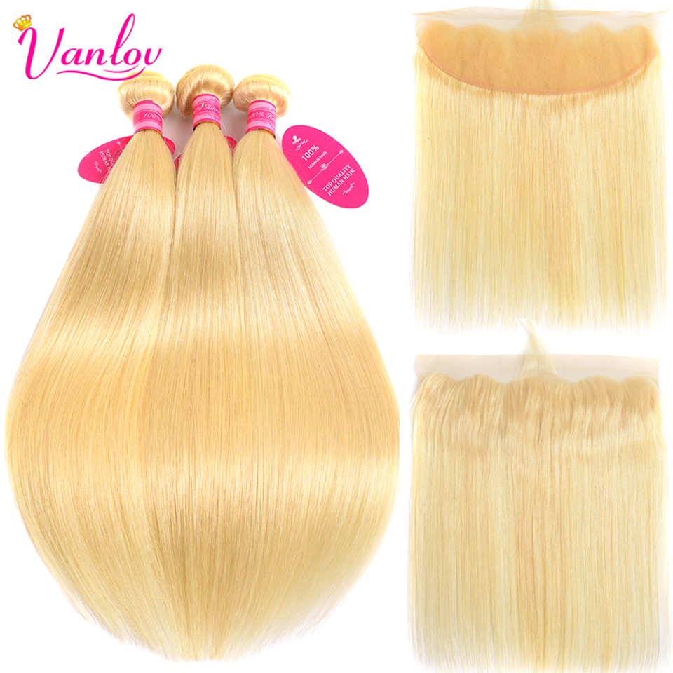Human Hair Weaves Precise Alipearl Blonde Hair Bundles With Frontal Colored #27 Lace Frontal Closure With Bundles Remy Hair
